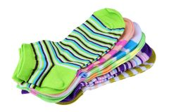 Stack Of Many Pairs Colorful Striped Socks Isolated On White Royalty Free Stock Photos