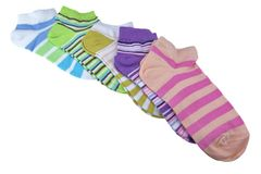 Stack Of Many Pairs Colorful Striped Socks Isolated On White Stock Photography