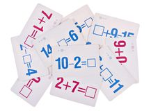 Stack of Math Flash Card. On Isolated Background stock photos