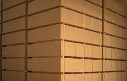 The stack of MDF boards tied with ribbon in stock stock photo