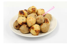 Stack meat ball on dish with white background Royalty Free Stock Images