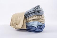 A stack of men`s socks. Denim pastel colors Royalty Free Stock Photo