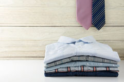 Stack of men shirts with tie Royalty Free Stock Photography