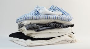 Stack of menswear shirt short socks underwear. Photo isolated design Stock Photography