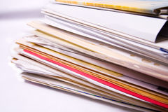 Stack of messy document folders Stock Images