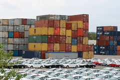 Stack of metal cargo containers Royalty Free Stock Photos