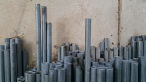 Stack of metal pipes prepare for work Stock Photos