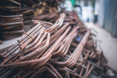 Stack of the metal rusty reinforcement bars Royalty Free Stock Photos