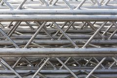 Stack of metal trusses royalty free stock photos