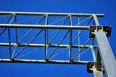 Stack of metal trusses for mounting the stage Royalty Free Stock Photography