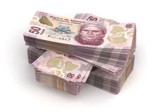 Stack of Mexican Pesos Stock Image