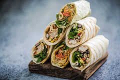 Stack of mexican street food fajita wrap. Copy space for text Stock Photography