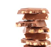 Stack of milk chocolate bar with nuts Royalty Free Stock Photography