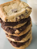 Stack Of Milk And Dark Chocolate Chip Cookies Stock Photo