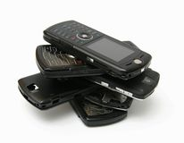Stack of mobile cell phones Royalty Free Stock Image