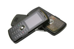 Stack of mobile cell phones stock image