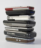 Stack of mobile phones Royalty Free Stock Images
