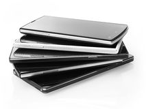 Stack of mobile phones Stock Images