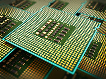 Stack of modern CPUs. 3D illustration Stock Photography