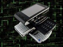 Stack of Modern Mobile Phones Programming Code Stock Photo