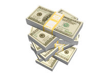 Stack of money. Stack of money on white background Royalty Free Stock Images