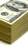 Stack of money. Stack of one hundred dollars bancknotes Stock Photos