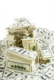 Stack of money. Stack of $100 bills in US currency on white background Stock Photo