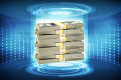 Stack of money. On abstract blue background, money concept Stock Photo