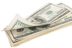 Stack of money american hundred dollar bills Stock Image