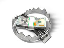 Stack of money in the bear metal trap Stock Photo
