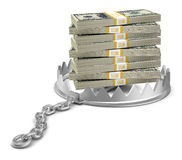 Stack of money in bear trap Royalty Free Stock Images