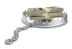 Stack of money in bear trap on white Royalty Free Stock Images