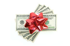 Stack of Money with Bow Stock Photo