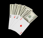 Stack of money and cards Royalty Free Stock Photo