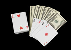 Stack of money and cards Stock Images