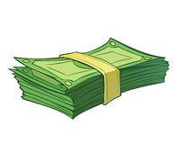 Stack of money. Cartoon stack of money on white