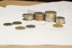 Stack money or coin on white paper graph Royalty Free Stock Photography