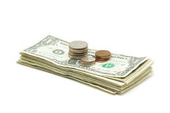 Stack of Money & Coins Royalty Free Stock Photos