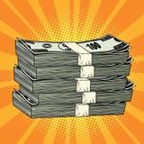 Stack of money dollar pop art retro. Comic book illustration Royalty Free Stock Photography