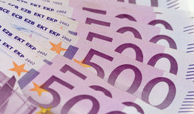 Stack of money with 500 euro banknotes Stock Images