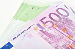 Stack of money euro bills banknotes. Euro currency from Europe Stock Photo