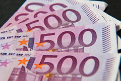 A stack of money five hundred euros. A stack of money 500 euros Stock Image