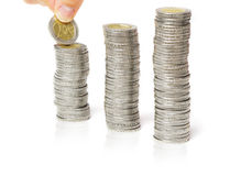 Stack money, hand, coins Royalty Free Stock Images