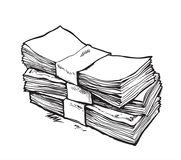 Stack of money. Hand drawn vector illustration. Isolated Stock Image