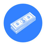 Stack of money icon in black style isolated on white background. Money and finance symbol stock vector illustration. Royalty Free Stock Image