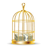Stack of money inside golden birdcage Stock Images