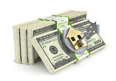 Stack of money with lock in form of house. Stock Image