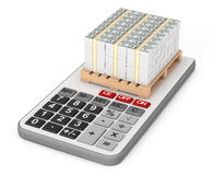 Stack Of Money over Calculator. 3d Rendering. Stack Of Money over Calculator on a white background. 3d Rendering Royalty Free Stock Image