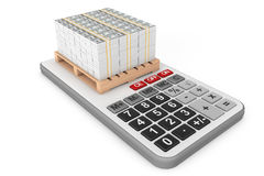 Stack Of Money over Calculator. 3d Rendering. Stack Of Money over Calculator on a white background. 3d Rendering Royalty Free Stock Photography