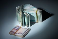 The stack of money: shadow incomes. The stack of russian money: shadow incomes royalty free stock image